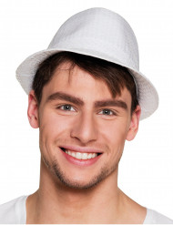 Sombrero borsalino blanco de lentejuelas adulto