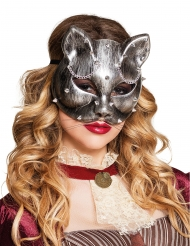 Antifaz de gato plateado adulto Steampunk