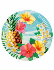 6 platos de cartón Hawái party