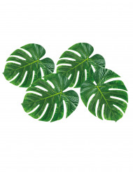 4 set de mesa hoja tropical verde 33x27