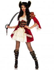 Disfraz pirata rojo sexy mujer