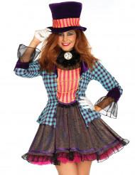 Disfraz sombrerero loco purpurina mujer