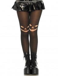 Pantys negros con calabaza mujer Halloween