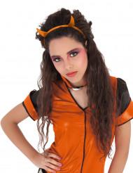 Diadema cuernos brillantina naranja diablesa niña