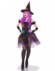 Disfraz bruja telarañas multicolor mujer