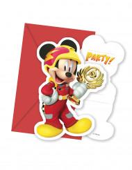 6 Tarjetas de invitación son cobres Mickey y los superpilotos™
