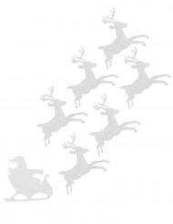 6 Renos de fieltro blanco 16 cm Navidad