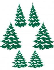6 Árboles de Navidad adhesivos verdes Navidad