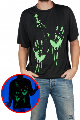 Camiseta estampado manos fosforito adulto Halloween