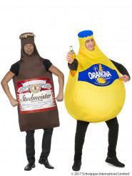 Disfraz de pareja botellas de Orangina y cerveza