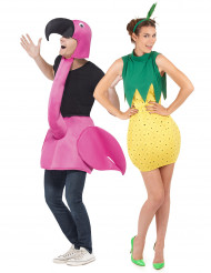 Disfraz de pareja Flamenco rosa y piña