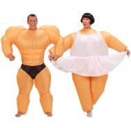 Disfraz de pareja humor bailarina y culturista hinchable