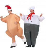 Disfraz de pareja Cocinero y Pavo Inflables