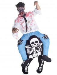 Disfraz de hombre montado en un esqueleto adulto Halloween