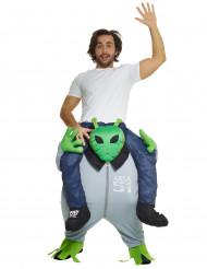 Disfraz hombre sobre la espalda de alien adulto Morphsuits™