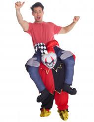 Disfraz hombre sobre hombros de arlequín esqueleto adulto Halloween