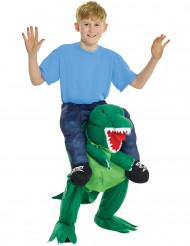 Disfraz humano a caballito de un dinosaurio para niño