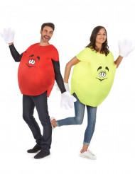 Disfraz de pareja caramelo amarillo y rojo adulto