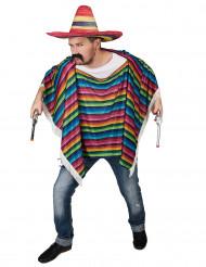 Poncho Mexicano a rayas multicolor para adulto
