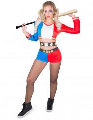 Disfraz de arlequina psicópata rebelde mujer