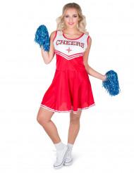Disfraz de animadora color rojo Cheers mujer