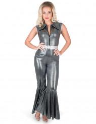 Disfraz traje disco plateado mujer