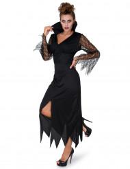 Disfraz disfraz de bruja puntilla negra mujer