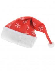 Gorro de Navidad rojo con copos de nieve brillantes adulto