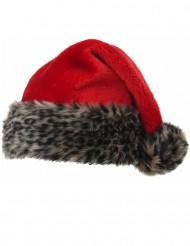 Gorro rojo con pelo oscuro 40 cm adulto Navidad