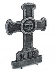 Decoración piedra tumbal cruz con calavera 39 x 58 cm