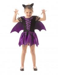 Disfraz de murciélago violeta niña Halloween