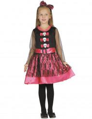 Disfraz esqueleto girly rosa niña Halloween
