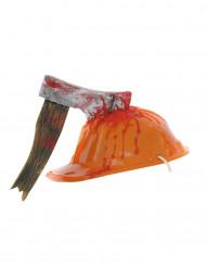 Casco de obra naranja hacha ensangrentada adulto Halloween