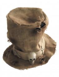 Sombrero de copa tela de yute esqueleto adulto Halloween