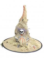 Sombrero bruja tela de yute luminoso adulto Halloween