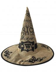 Sombrero brujo tela de yute adulto Halloween