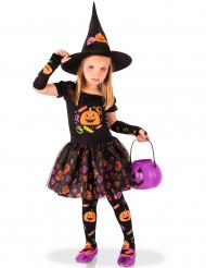 Disfraz de bruja calabaza niña