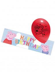 5 Globos de látex y pancarta Peppa Pig