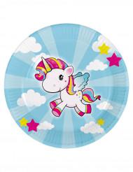 8 Platos de cartón pequeño unicornio 23 cm