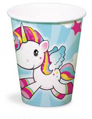 8 vasos unicornio de cartón 250 ml