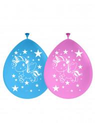 6 globos látex unicornio