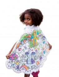 Capa lavable reversible azul para pintar princesa niña