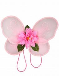 Alas de princesa hada rosa con purpurina rosa niña