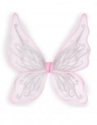 Alas de mariposa rosa con purpurina plateada niña