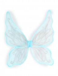 Alas de mariposa azul con purpurina plateada niña