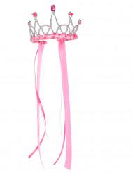 Corona de reina medieval rosa niña