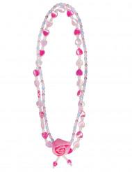 Collar flor rosa niña