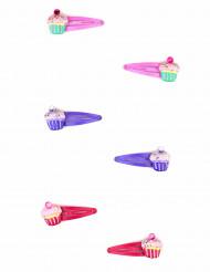 2 Horquillas coloridas cupcake niña
