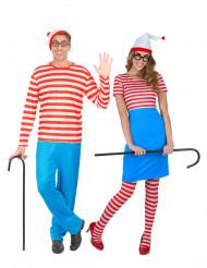 Disfraces de pareja de excursionistas con rayas