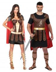Disfraz de pareja de gladiadores romanos adultos